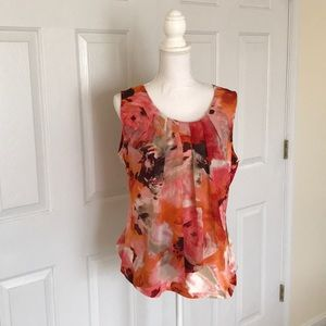 Pink & Orange Abstract Floral Print Sleeveless Top